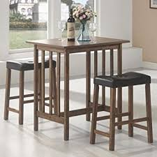 breakfast table amazon com 3pc breakfast table and stools set in nut brown