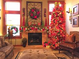 living room natural stone fireplace with christmas decorations in