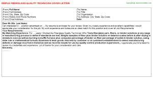 fiberglass quality technician cover letter