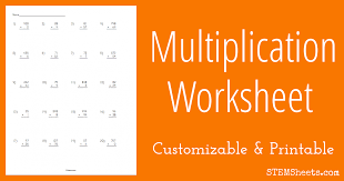 multiplication worksheet customizable stem sheets