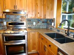 Slate Tile Backsplash Pictures And by Kitchen Remodel Slate Tile Backsplash With Accents Www