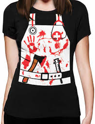 bloody nurse doctor zombie halloween costume women t shirt