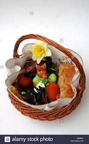 easter dishes traditional traditional blessed easter food in basket stock photo