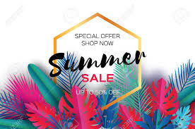 summer sale trendy summer sale template banner paper tropical palm leaves