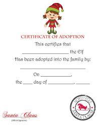 printable elf girl elf on the shelf certificate of adoption brunette girl elf pdf elf