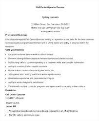 Sample Resume Call Center Resume Call Center Sample Call Centre Template Resume For Call