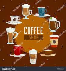 espresso coffee clipart coffee shop circle concept different types stock vector 410381914