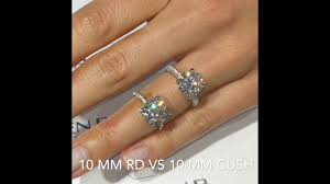 10mm ring 10mm moissanite cushion vs engagement rings