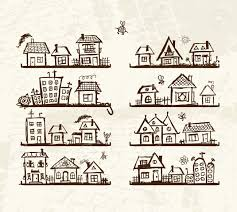 sketch of cute houses on shelves for your design royalty free