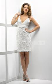 sheath v neck short mini sleeveless zipper lace wedding dress
