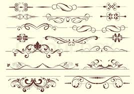 set of dividers ornamental rule lines in vintage style stock