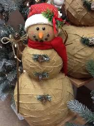 burlap snowman cuts strips of burlap and glue onto styrofoam