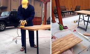 Ikea Countertop Diy Adjustable Standing Desk From Steel Pipe U0026 Ikea Countertop