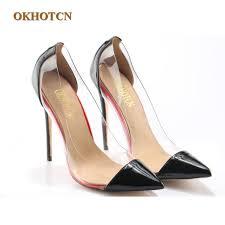 designer stiletto heels fashion pumps luxury pvc designer clear transparent high