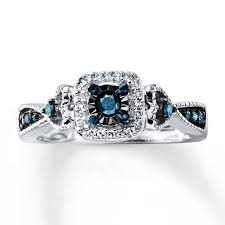 black diamond promise ring blue diamond promise ring 1 4 ct tw cut sterling silver