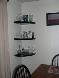 Kitchen Corner Shelf Ideas Black High Gloss Finish Wooden Corner Floating Wine Glass Shelf On