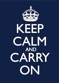 Keep Calm And Carry On Meme - keep calm carry on navy blue poster