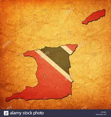 Tobago Map Map With Flag Of Trinidad And Tobago With National Borders Stock
