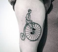 most amazing small bike tattoo design for men hand