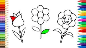 how to draw flowers coloring pages for kids learn colors and