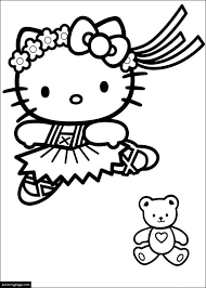 Hello Kitty Ballerina And A Teddy Bear Coloring Page For Girls Ballerina Printable Coloring Pages