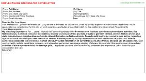 fashion coordinator cover letter