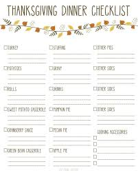 printable thanksgiving dinner checklist and recipes thanksgiving