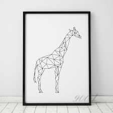 geometric giraffe canvas art print painting poster wall pictures