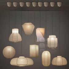 Paper Pendant Lamps Japanese Style Industrial Vintage Paper Pendant Light Handmade Led