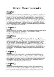 heroes by robert cormier chapter summaries by stoneyjt teaching