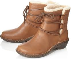 ugg womens caspia ankle boots ugg caspia sheepskinlined leather ankle boots in brown lyst