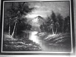 52x40in black white mountain landscape oil painting signed by g