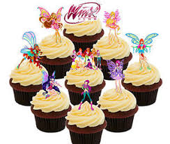 edible cake decorations winx fairy club college 36 edible cupcake toppers stand up cake