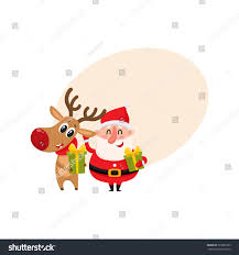 funny santa claus reindeer holding christmas stock vector