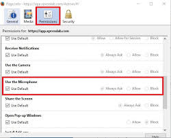 firefox3jpg assigning microphone permissions in firefox xpresslab support system