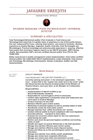 ideas of quality manager resume sample for form gallery