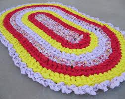 Shabby Chic Kitchen Rugs Crochet Rag Rug Etsy