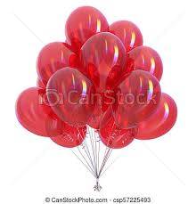 Red helium balloons bunch glossy party decoration colorful Colorful