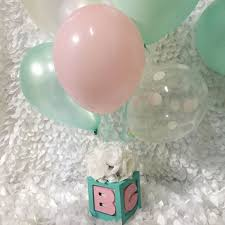 baby u0026 co baby block centerpieces with balloons and flowers baby