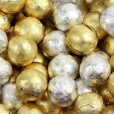 gold silver foiled milk chocolate balls