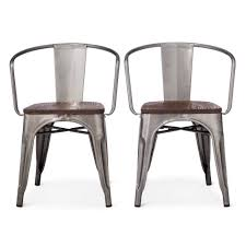 Wood Dining Chairs Carlisle Metal Dining Chair Distressed Metal Set Of 2 Ebay