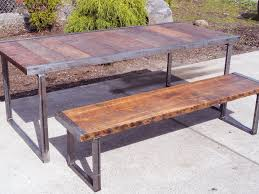 small industrial dining table w matching industrial bench mt