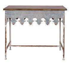 amazon com creative co op metal scalloped edge table with zinc