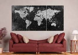 World Map Canvas World Map Large Black And White World Map World Map Canvas