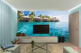 mural wonderful ocean with tropical houses wallpapers mural wonderful ocean with tropical houses