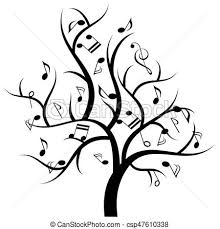 vectors of musical tree with notes notes hanging on