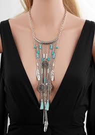 long boho pendant necklace images Vintage long beaded tassels big chunky statement boho maxi jpg