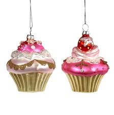 glass cupcake ornament 2 assorted tr 27083