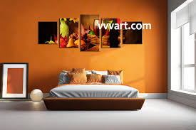 modern kitchen art 5 piece colorful wine fruits canvas pictures