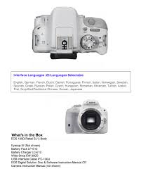 canon eos rebel sl1 100d only body 25 languagesselectable color